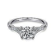 Lori 14k White Gold Round Straight Engagement Ring angle 1