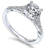 Lori 14k White Gold Round Straight Engagement Ring angle 3