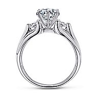 Lorna 14k White Gold Round 3 Stones Engagement Ring angle 2