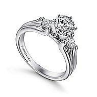 Lorna 14k White Gold Round 3 Stones Engagement Ring angle 3