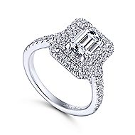 Lotus 14k White Gold Emerald Cut Double Halo Engagement Ring angle 3
