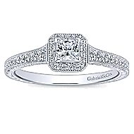 Lucas 14k White Gold Princess Cut Halo Engagement Ring angle 5