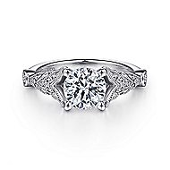 Luciana 14k White Gold Round Split Shank Engagement Ring