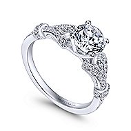Lucille 14k White Gold Round Straight Engagement Ring angle 3
