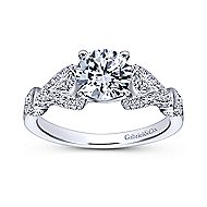 Lucille 14k White Gold Round Straight Engagement Ring angle 5