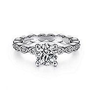 Lula 14k White Gold Round Straight Engagement Ring angle 1