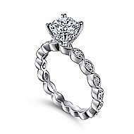 Lula 14k White Gold Round Straight Engagement Ring angle 3