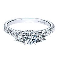 Lure 14k White Gold Round 3 Stones Engagement Ring angle 1