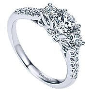 Lure 14k White Gold Round 3 Stones Engagement Ring angle 3