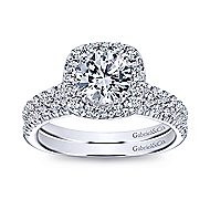 Lyla 18k White Gold Round Halo Engagement Ring