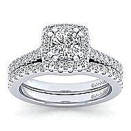Lyla Platinum Cushion Cut Halo Engagement Ring angle 4