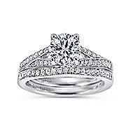 Lynley 14k White Gold Round Split Shank Engagement Ring angle 4