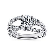 Mackenzie 14k White Gold Round Free Form Engagement Ring angle 5