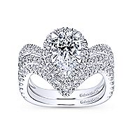 Madeleine 18k White Gold Pear Shape Halo Engagement Ring angle 4