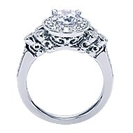 Madison 14k White Gold Round Halo Engagement Ring angle 2