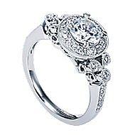 Madison 14k White Gold Round Halo Engagement Ring angle 3
