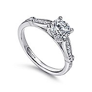 Mae 14k White Gold Round Straight Engagement Ring angle 3