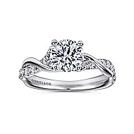 Maisie 18k White Gold Round Twisted Engagement Ring angle 5