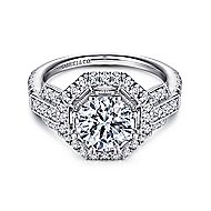 Majid 18k White Gold Round Halo Engagement Ring angle 1