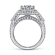 Majid 18k White Gold Round Halo Engagement Ring angle 2