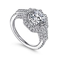 Majid 18k White Gold Round Halo Engagement Ring angle 3