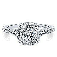 Malibu 14k White And Rose Gold Round Double Halo Engagement Ring angle 1