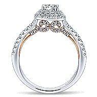 Malibu 14k White And Rose Gold Round Double Halo Engagement Ring angle 2