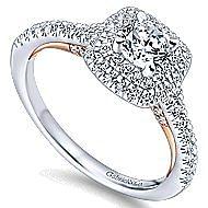 Malibu 14k White And Rose Gold Round Double Halo Engagement Ring angle 3