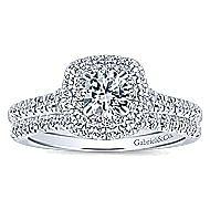 Malibu 14k White And Rose Gold Round Double Halo Engagement Ring angle 4