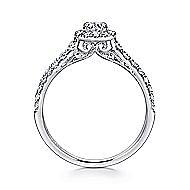 Malta 14k White Gold Round Halo Engagement Ring angle 2
