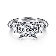 Malva 18k White Gold Princess Cut 3 Stones Engagement Ring angle 1