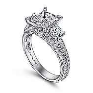 Malva 18k White Gold Princess Cut 3 Stones Engagement Ring angle 3