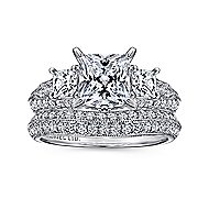 Malva 18k White Gold Princess Cut 3 Stones Engagement Ring angle 4