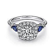 Mara 18k White Gold Round Halo Engagement Ring angle 1