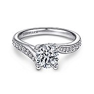 Marcy 14k White Gold Round Bypass Engagement Ring angle 1