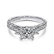 Margaret 14k White Gold Princess Cut 3 Stones Engagement Ring angle 1