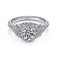 Margarita Platinum Round Halo Engagement Ring angle 1