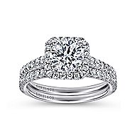 Margot 14k White Gold Round Halo Engagement Ring angle 4