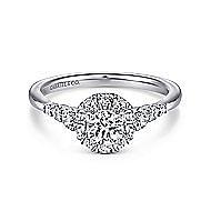 Maria 14k White Gold Round Halo Engagement Ring angle 1