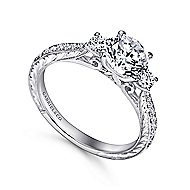 Marianna 14k White Gold Round 3 Stones Engagement Ring angle 3