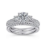 Marianna 14k White Gold Round 3 Stones Engagement Ring angle 4