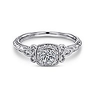 Marianne 14k White Gold Round Halo Engagement Ring angle 1