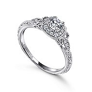Marianne 14k White Gold Round Halo Engagement Ring angle 3