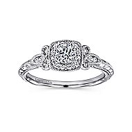 Marianne 14k White Gold Round Halo Engagement Ring angle 5