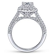 Mariella 14k White Gold Emerald Cut Double Halo Engagement Ring angle 2