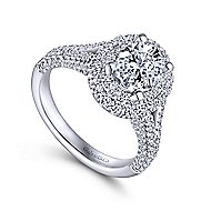 Mariella 14k White Gold Oval Double Halo Engagement Ring angle 3