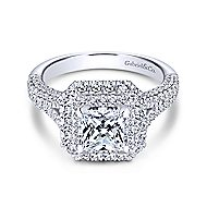 Mariella 14k White Gold Princess Cut Double Halo Engagement Ring angle 1
