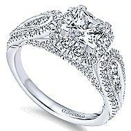 Marishka 14k White Gold Princess Cut Halo Engagement Ring