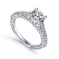 Marisol 14k White Gold Round Straight Engagement Ring angle 3
