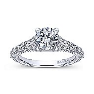 Marisol 14k White Gold Round Straight Engagement Ring angle 5